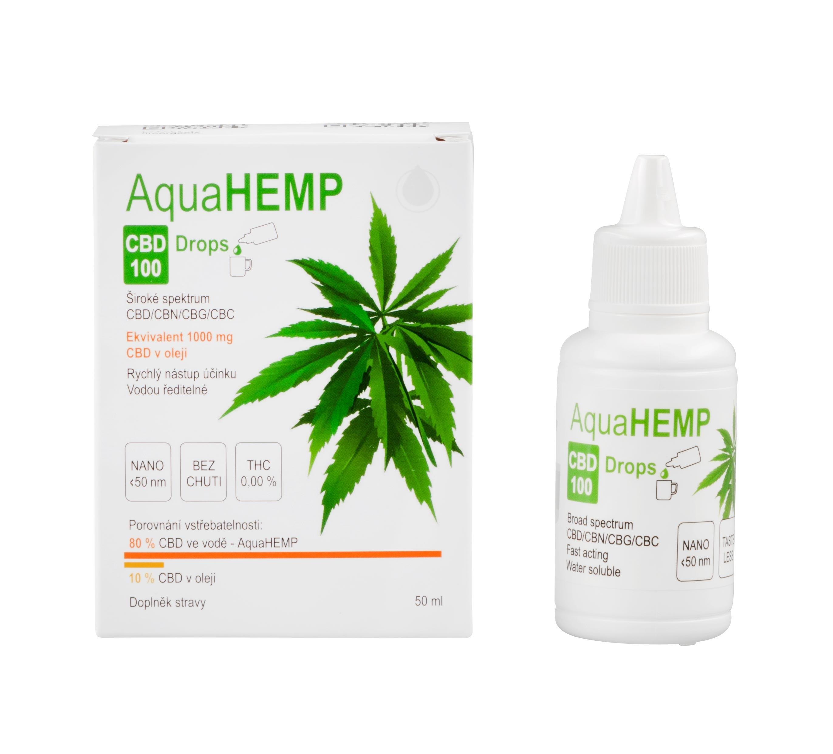 AquaHEMP CBD 100 Drops isolate 50ml, kapky