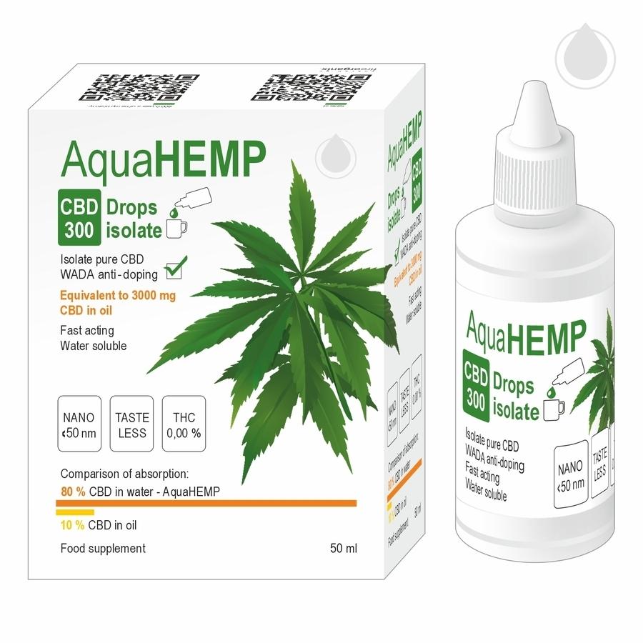 AquaHEMP CBD 300 Drops isolate 50ml, kapky
