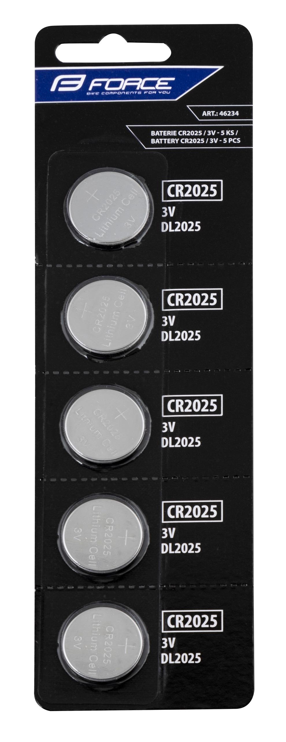 baterie FORCE mincové CR2025 / 3V 1 x 5 ks