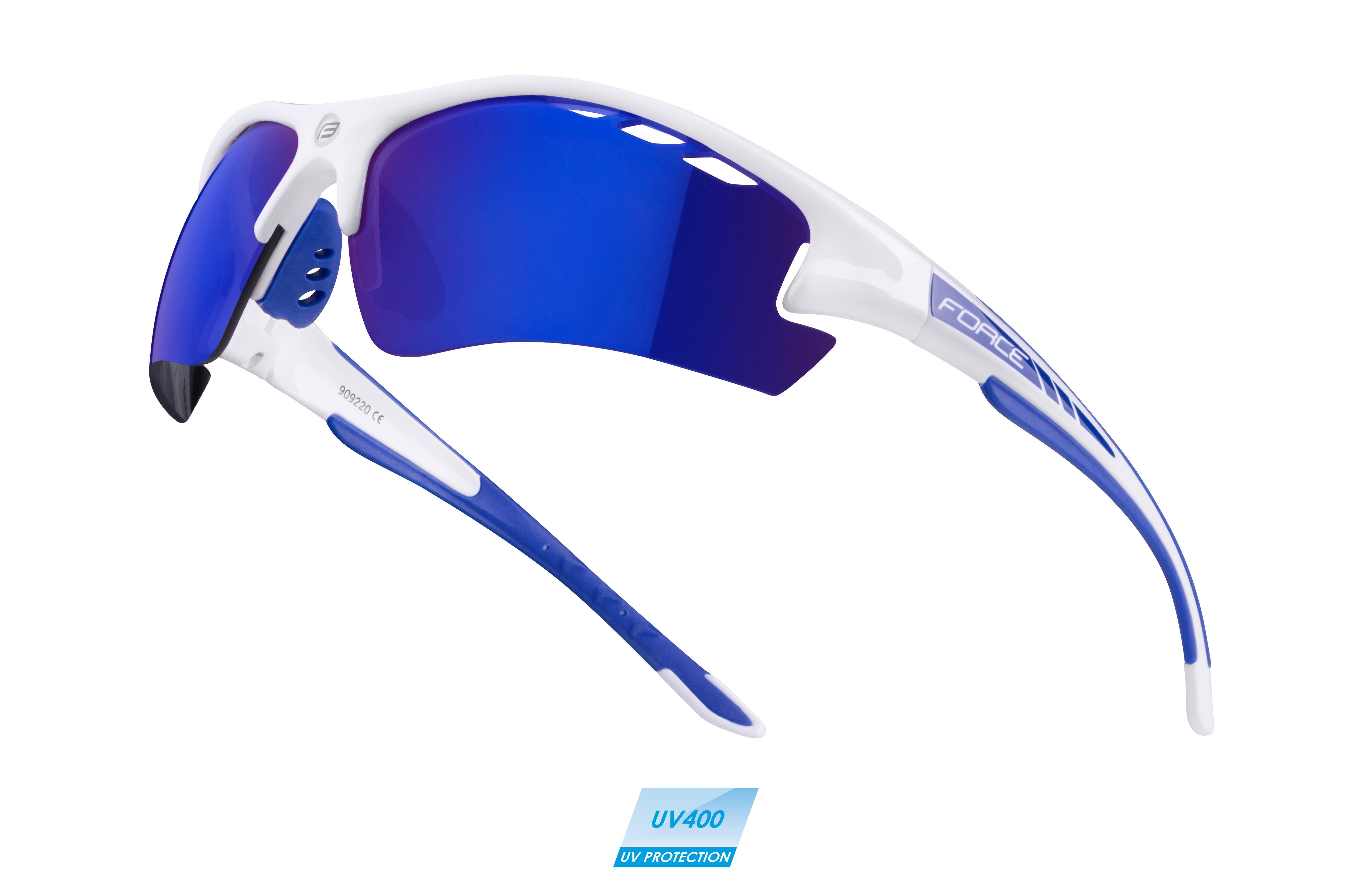 brýle Force RIDEPRO bílé diop.klip,modrá laser skla DOPRODEJ