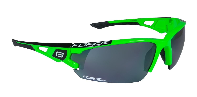 brýle FORCE CALIBRE fluo zelené, černá laser skla