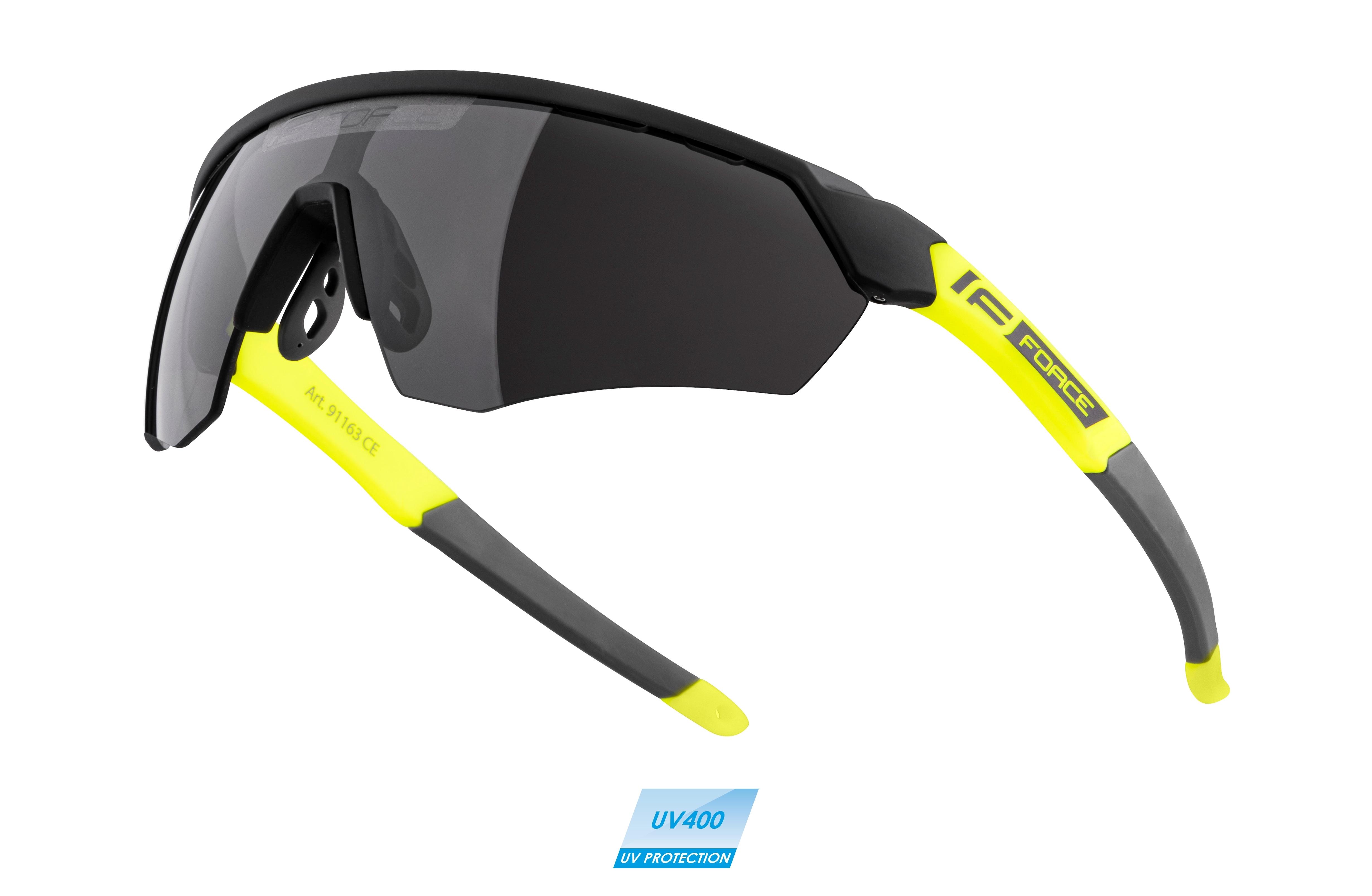 brýle FORCE ENIGMA černo-fluo mat., černá skla