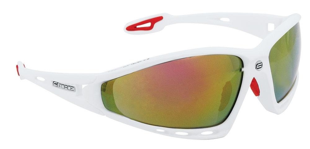 brýle FORCE PRO bílé, červená skla - AKCE