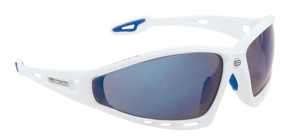 brýle FORCE PRO bílé, modrá laser skla