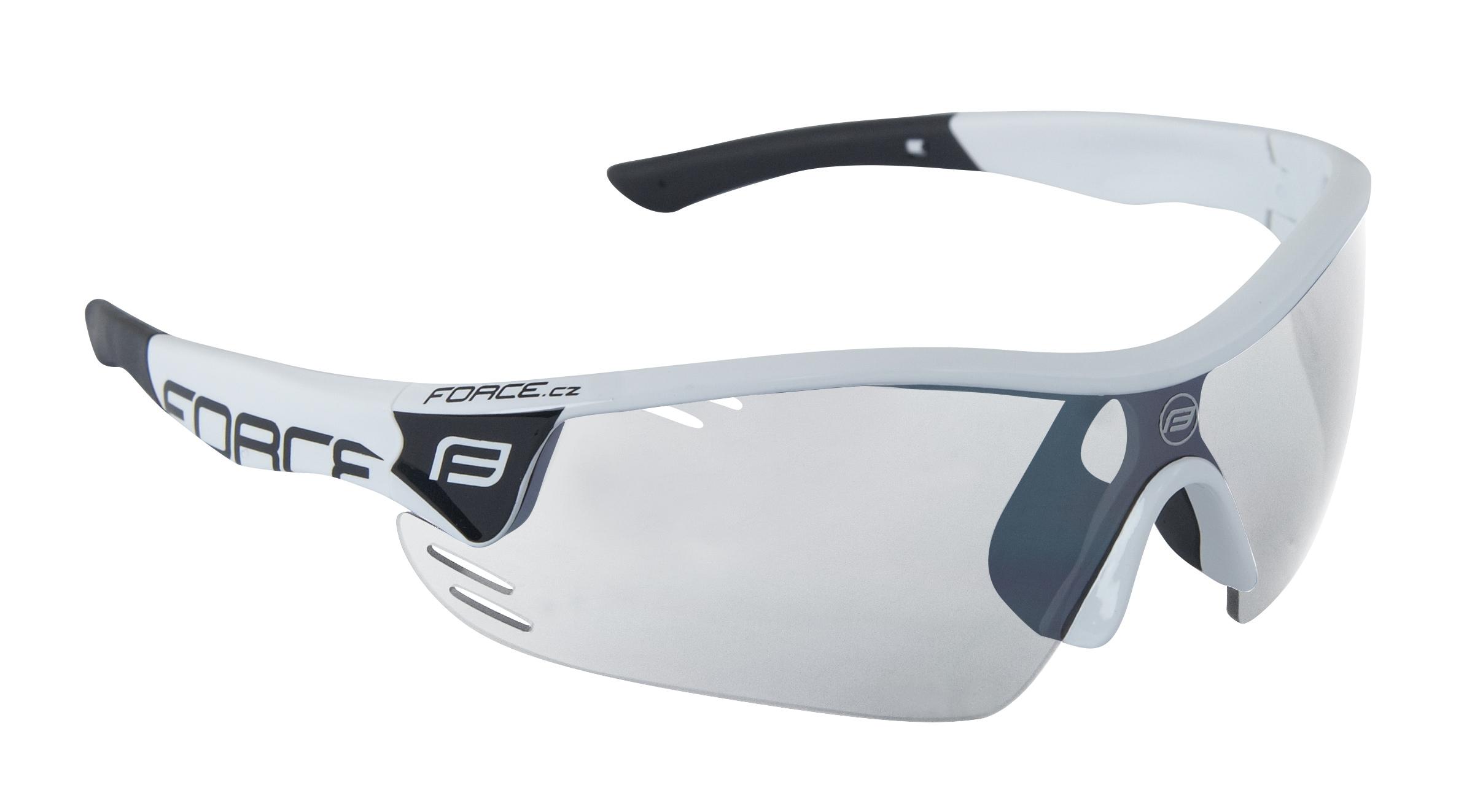 brýle FORCE RACE PRO bílo-černé,fotochrom.skla