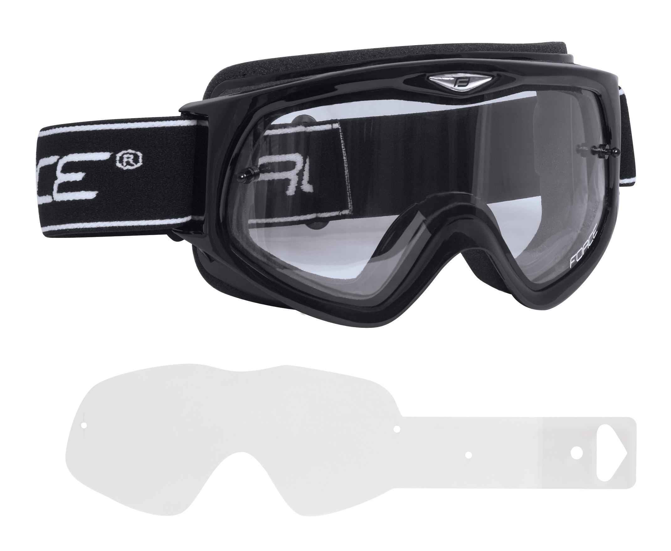 brýle FORCE sjezdové černé, čiré sklo + folie