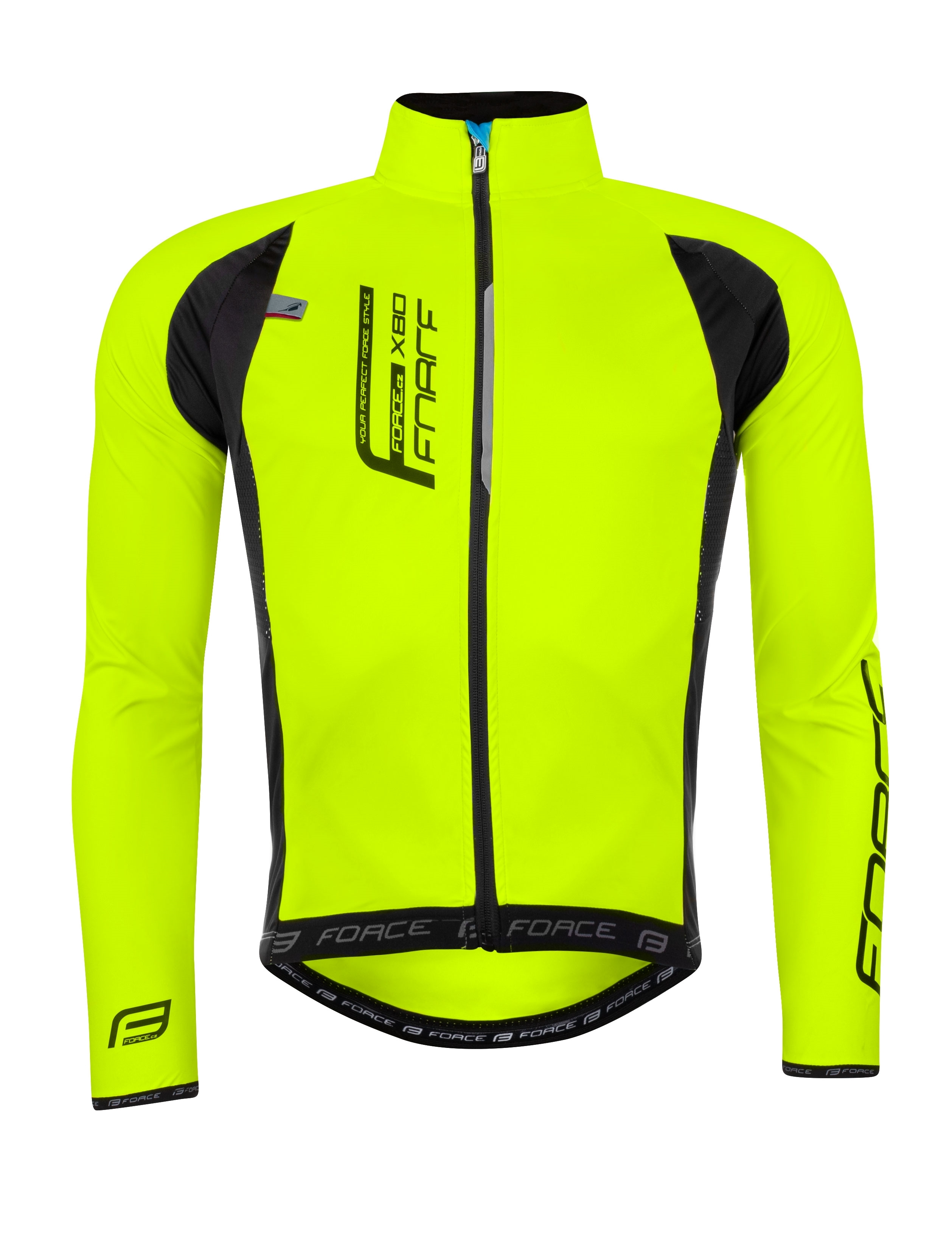 bunda FORCE X80 tenký softshell, UNI, fluo M