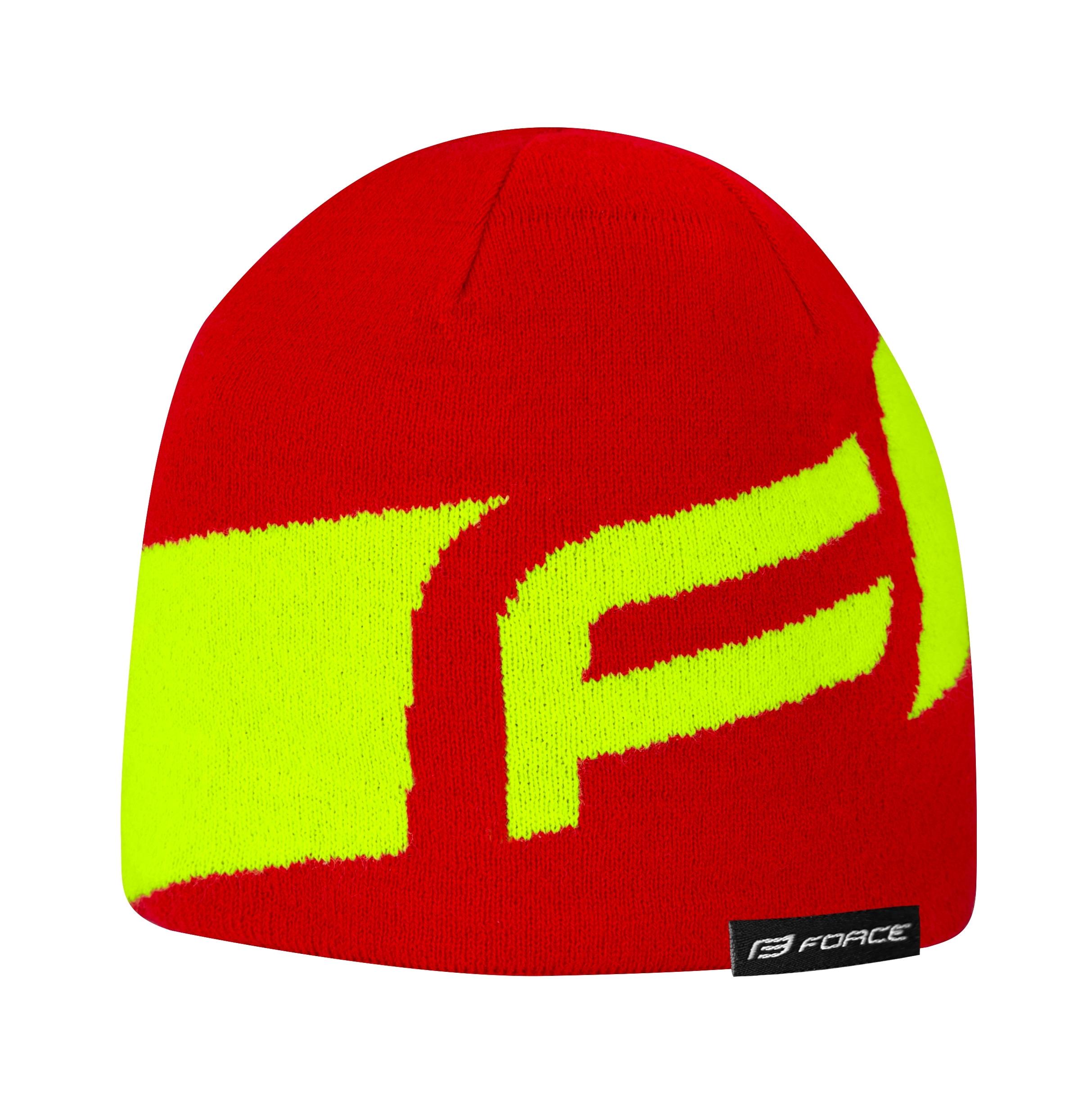 čepice zimní FORCE DWARF pletená, červeno-fluo