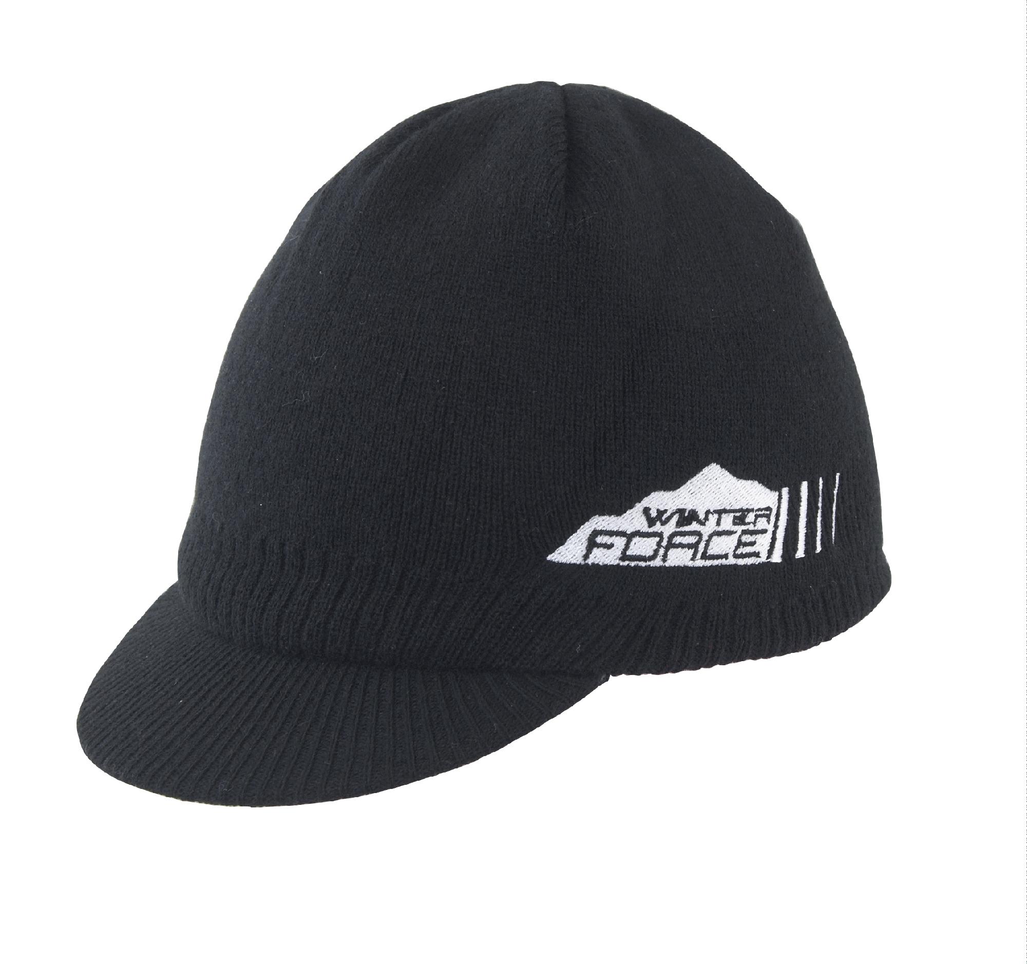 čepice zimní FORCE s kšiltem, pletená  černá