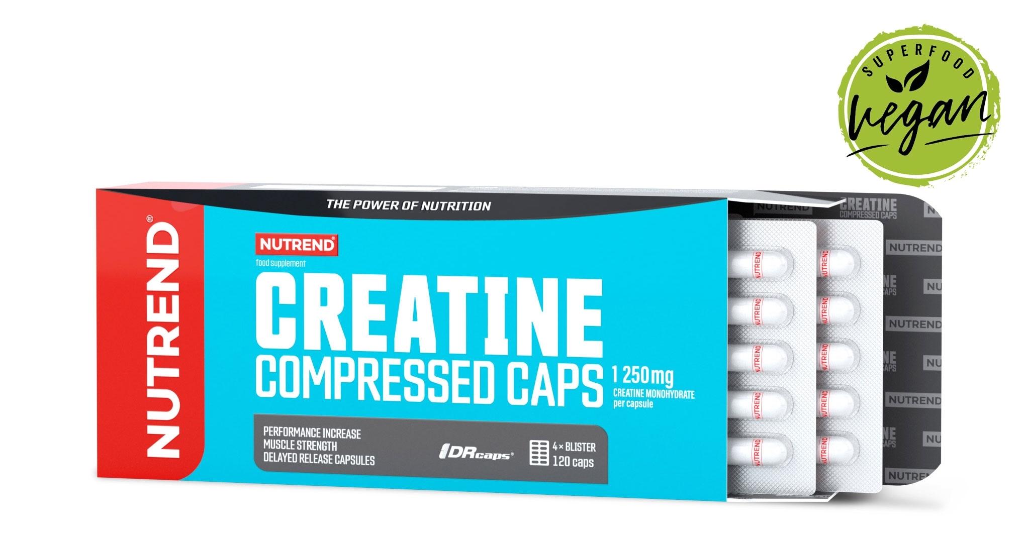 CREATINE COMPRESSED CAPS, obsahuje 120 kapslí