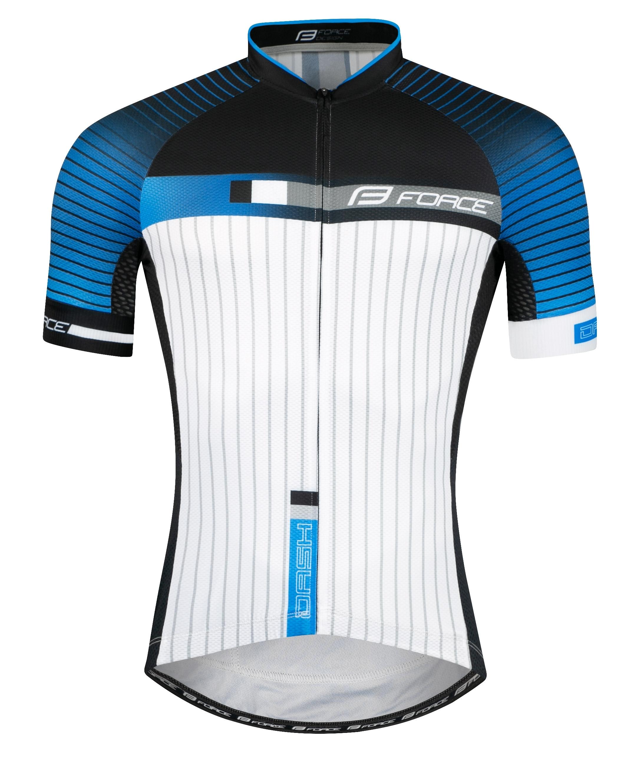 dres FORCE DASH krátký rukáv,modro-černo-bílý XL