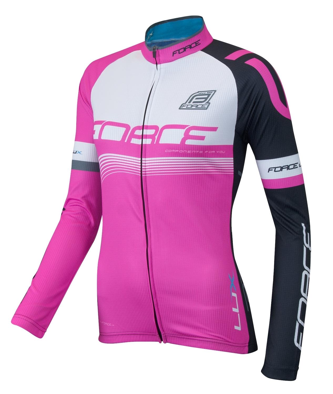 dres FORCE LUX dámský dlouhý rukáv růžový XL
