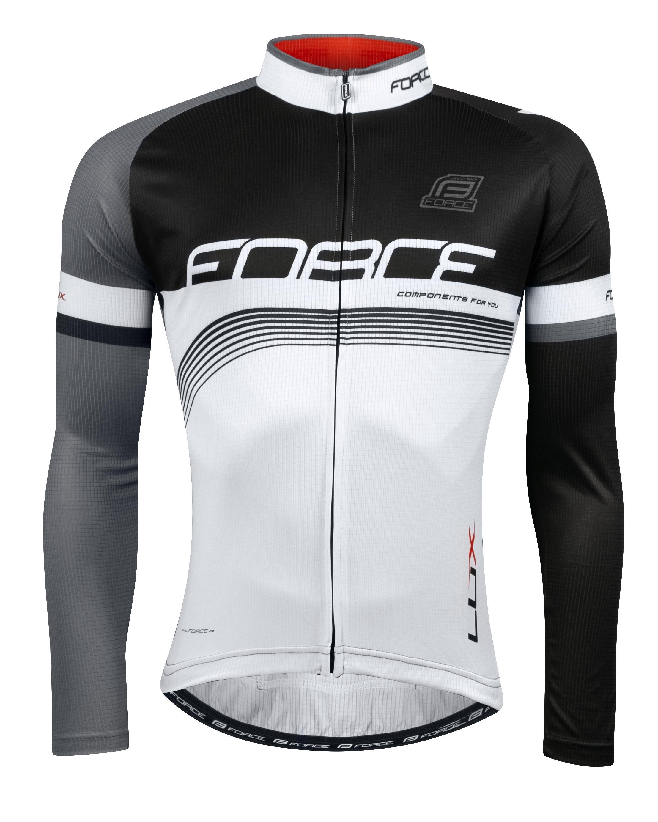 dres FORCE LUX dlouhý rukáv,černo-bílý XL