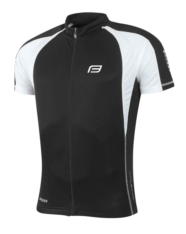 dres FORCE T10 krátký rukáv, černo-bílý XL