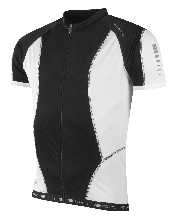 dres FORCE T12 krátký rukáv, černo-bílý  XS