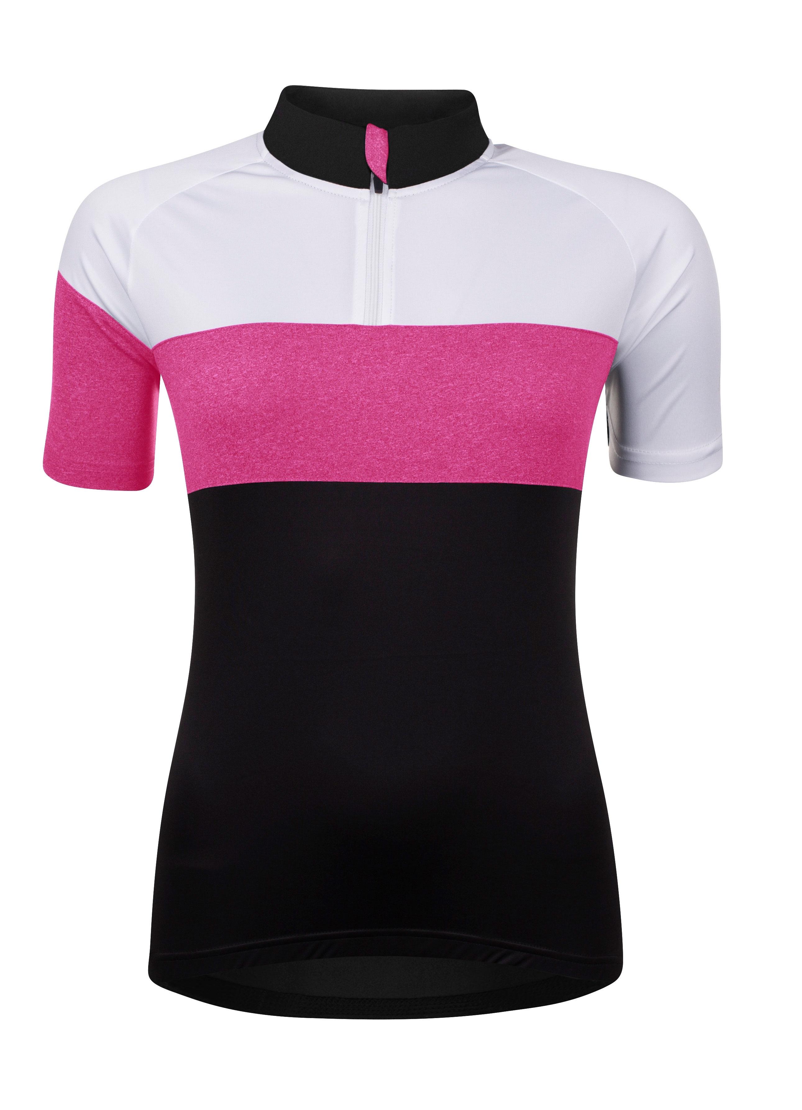 dres FORCE VIEW dámský kr rukáv,črn-bílo-růžový XL