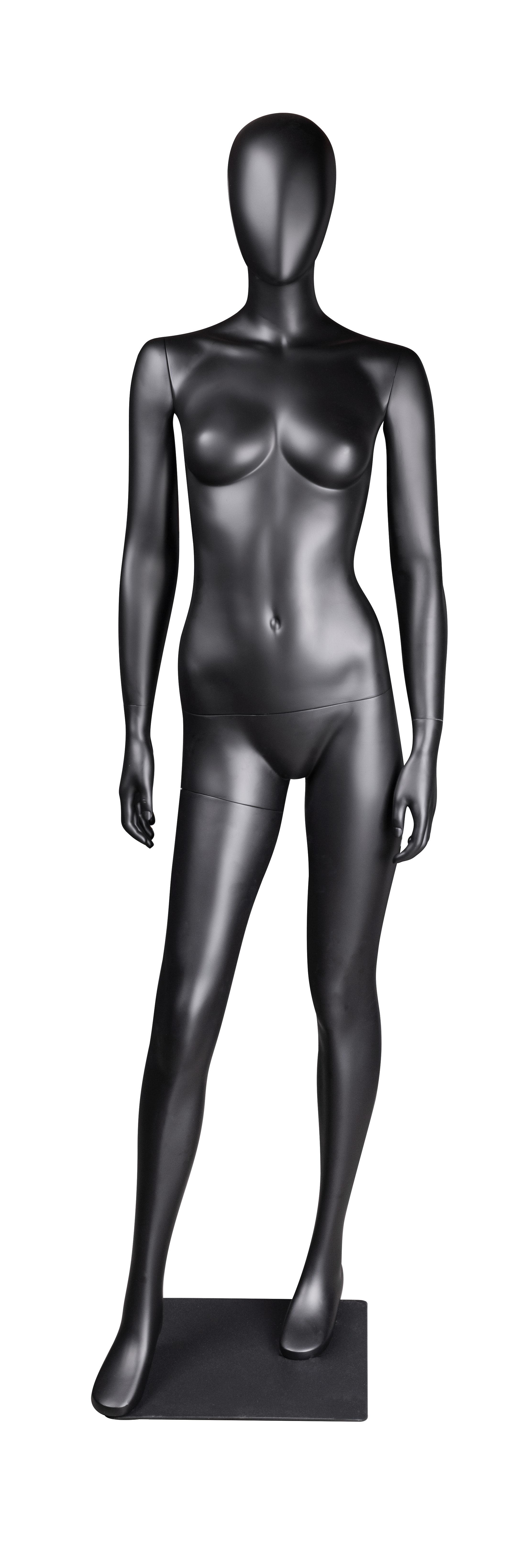 figurína dámská, nakročená vpřed, černá matná