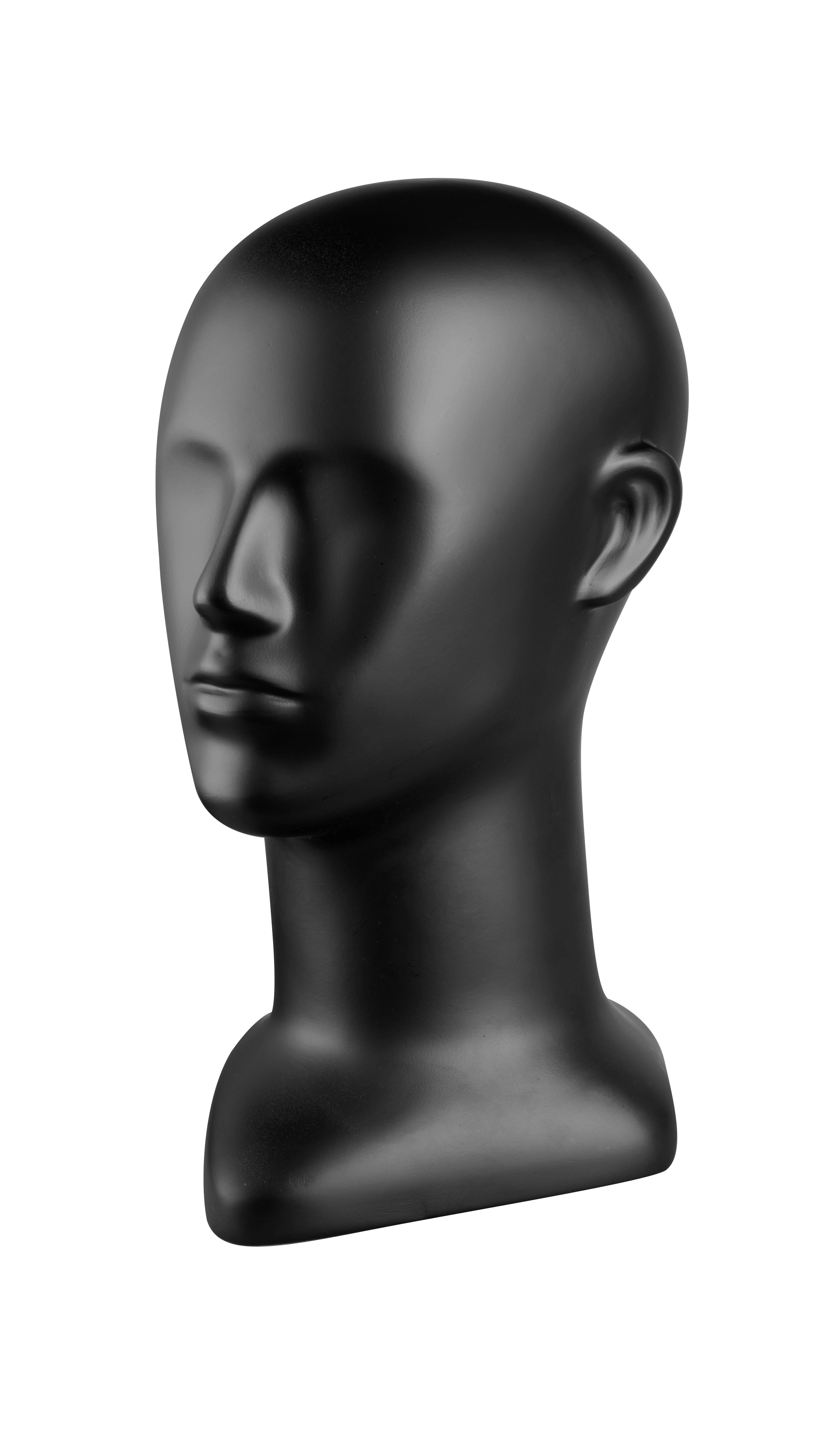 figurína - hlava, černá matná