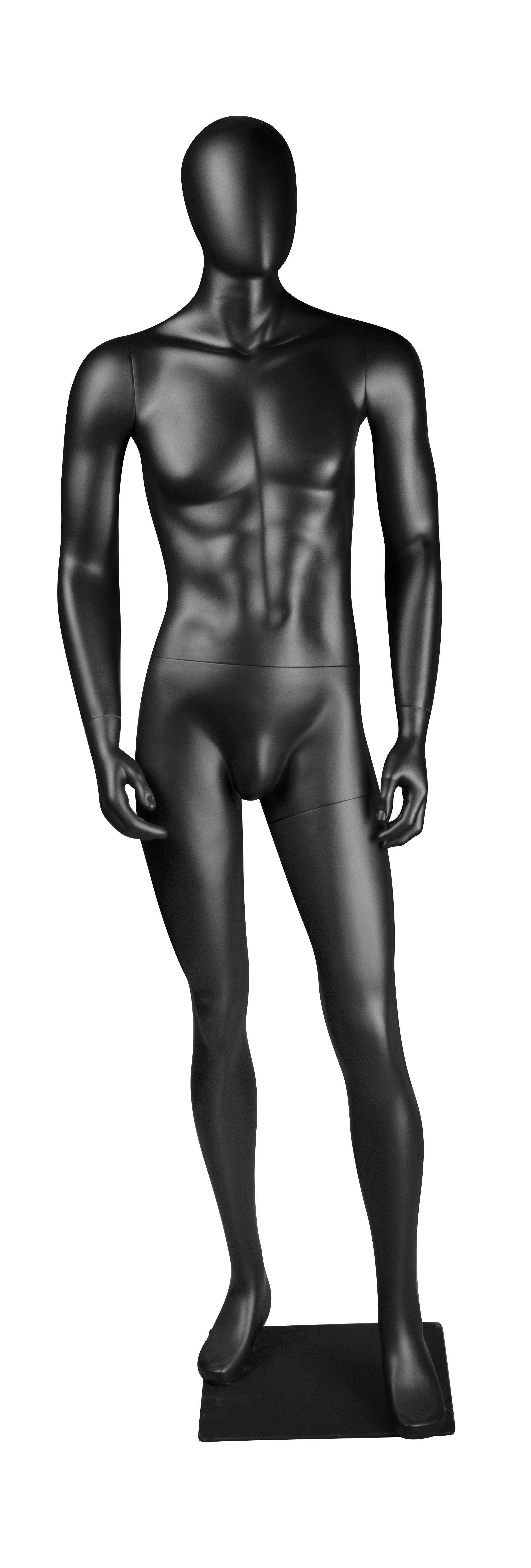 figurína pánská, nakročená vpřed, černá matná