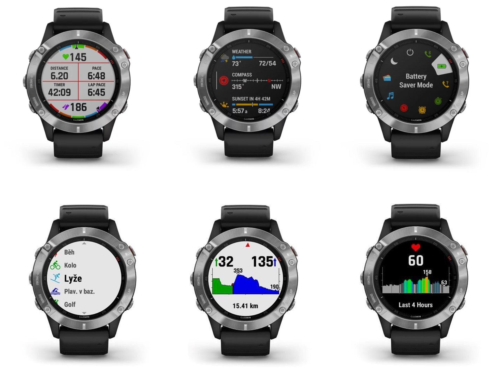 hodinky sportovní GARMIN Fenix6 Glass, černé