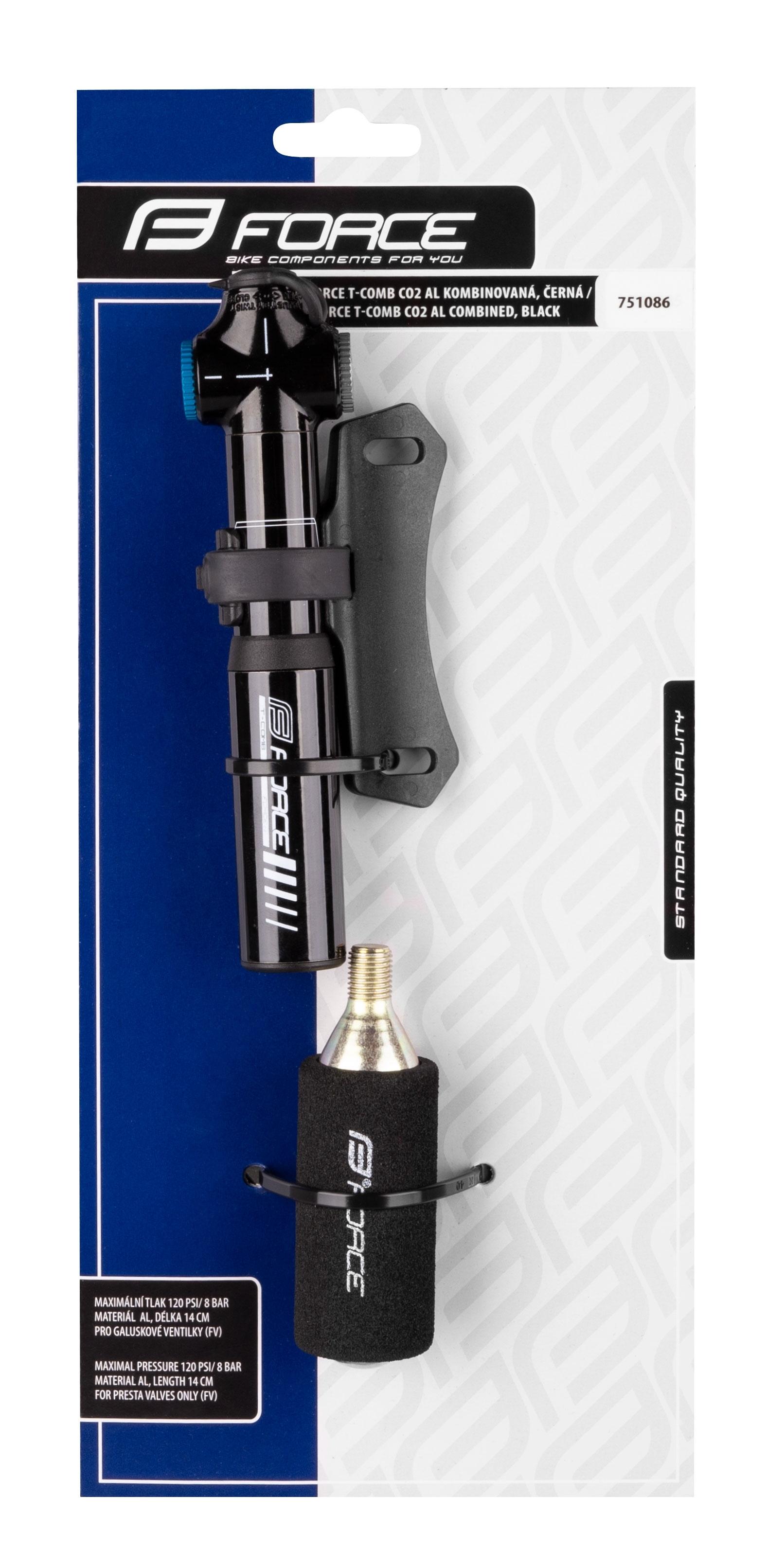 hustilka FORCE T-COMB CO2 Al kombinovaná, černá