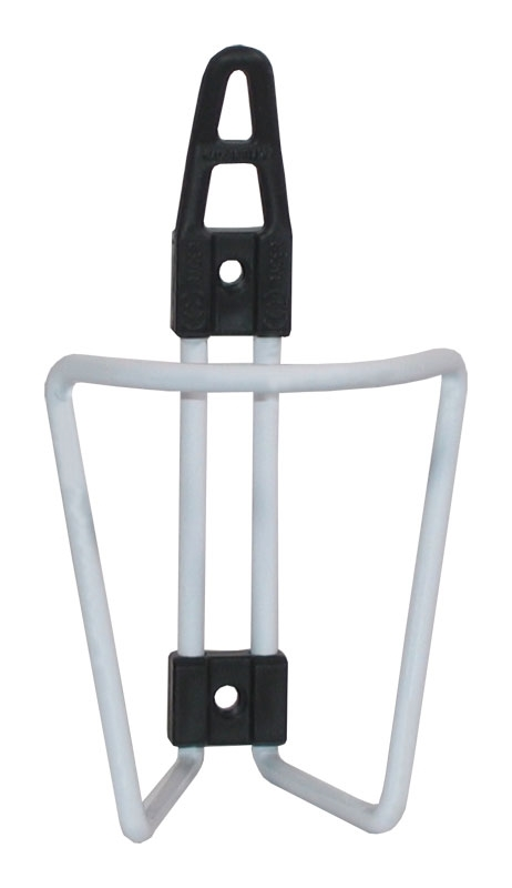 košík láhve hliníkový/plast, bílý lesklý