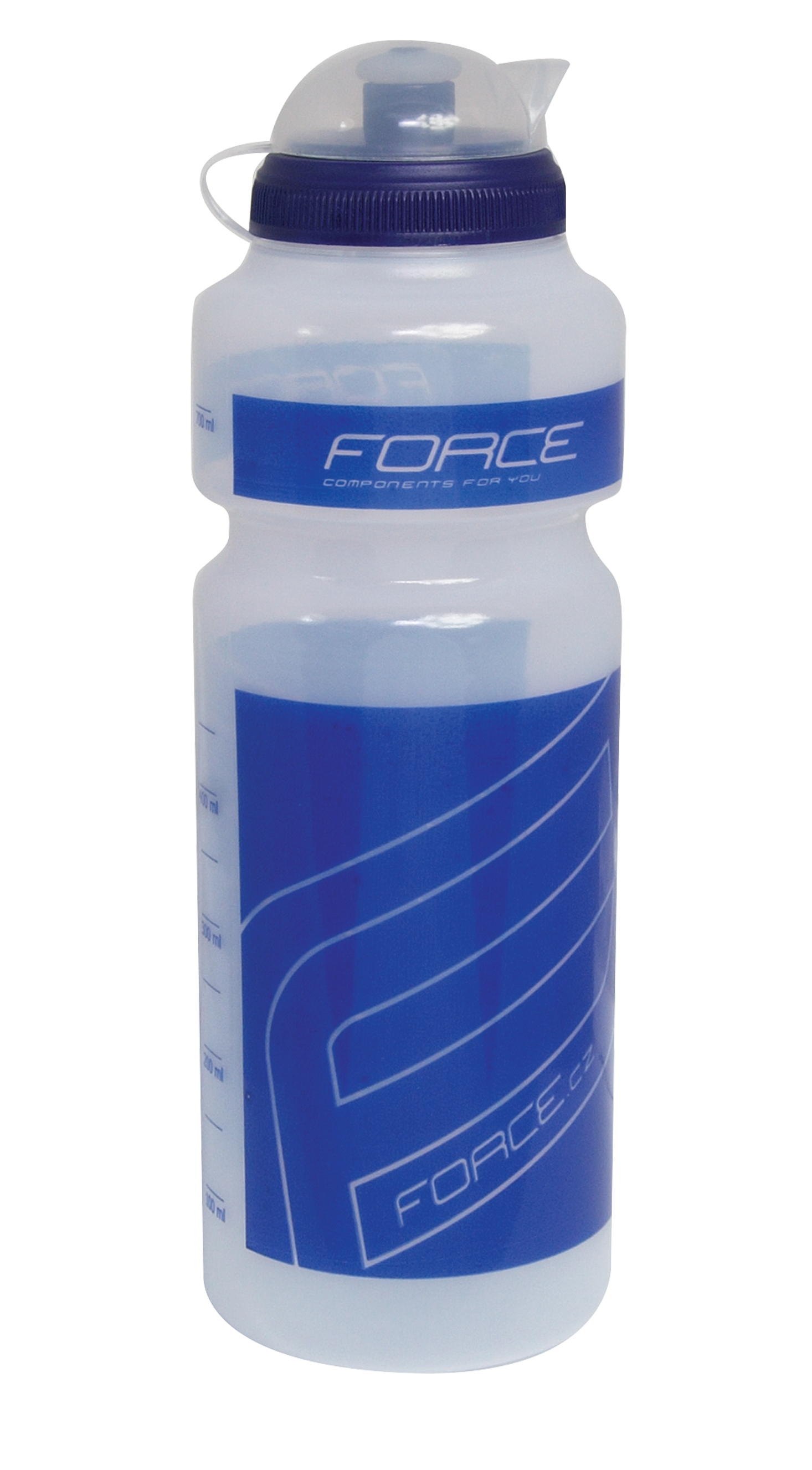 """láhev FORCE """"F"""" 0,75 l, čirá/modrý potisk"""