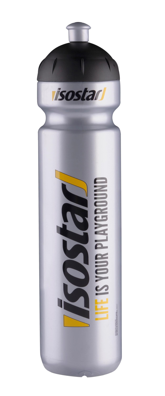 láhev ISOSTAR 1 l, výsuvný vršek, stříbrná