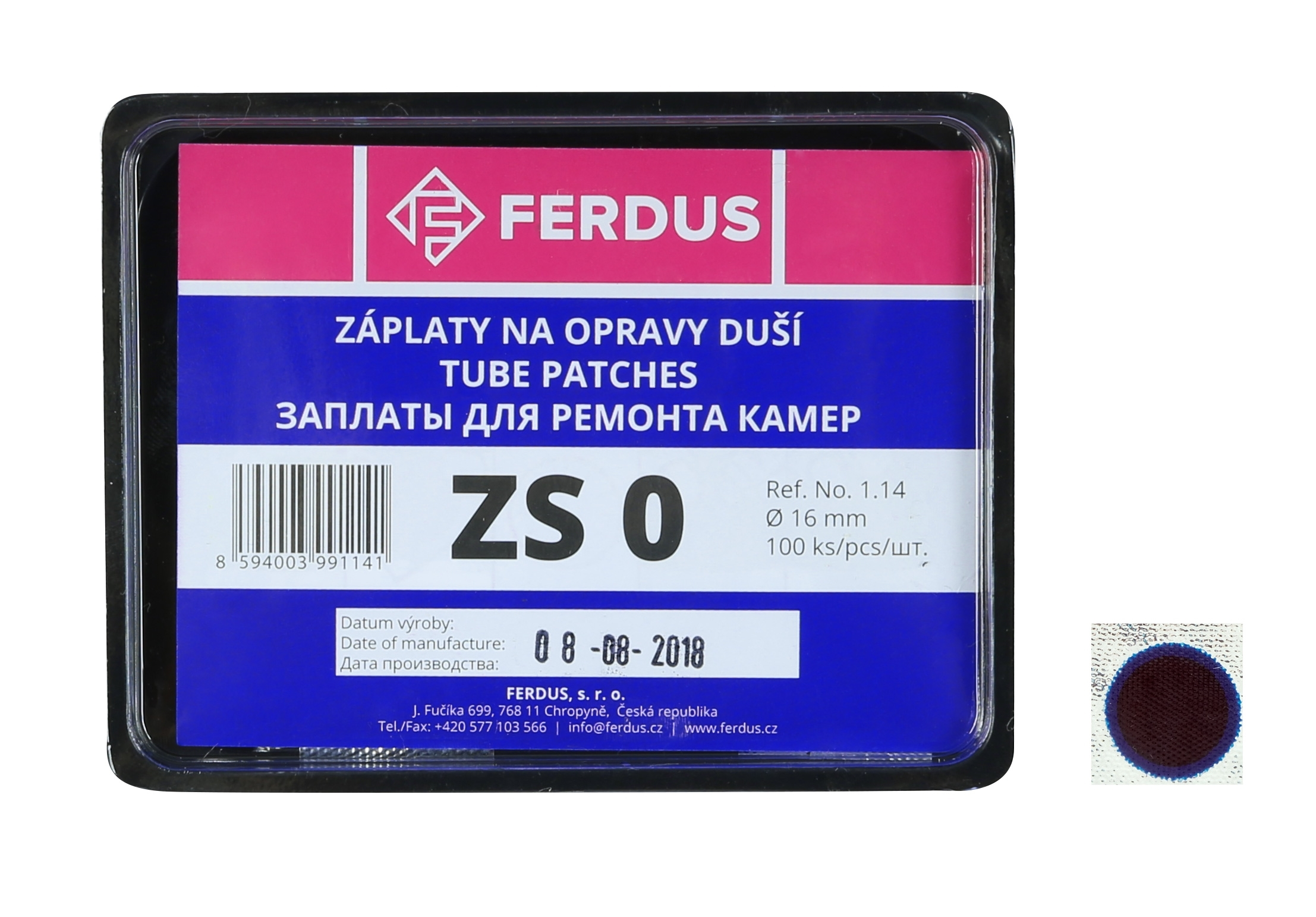 lepení-záplata FERDUS ZS0 kulatá 16mm box 100ks
