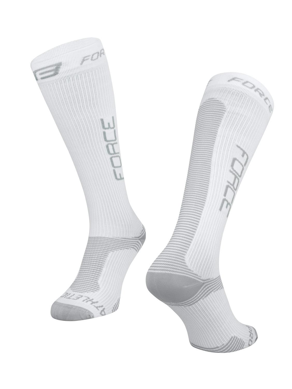 ponožky FORCE ATHLETIC PRO KOMPRES, bílo-šed S-M/36-41
