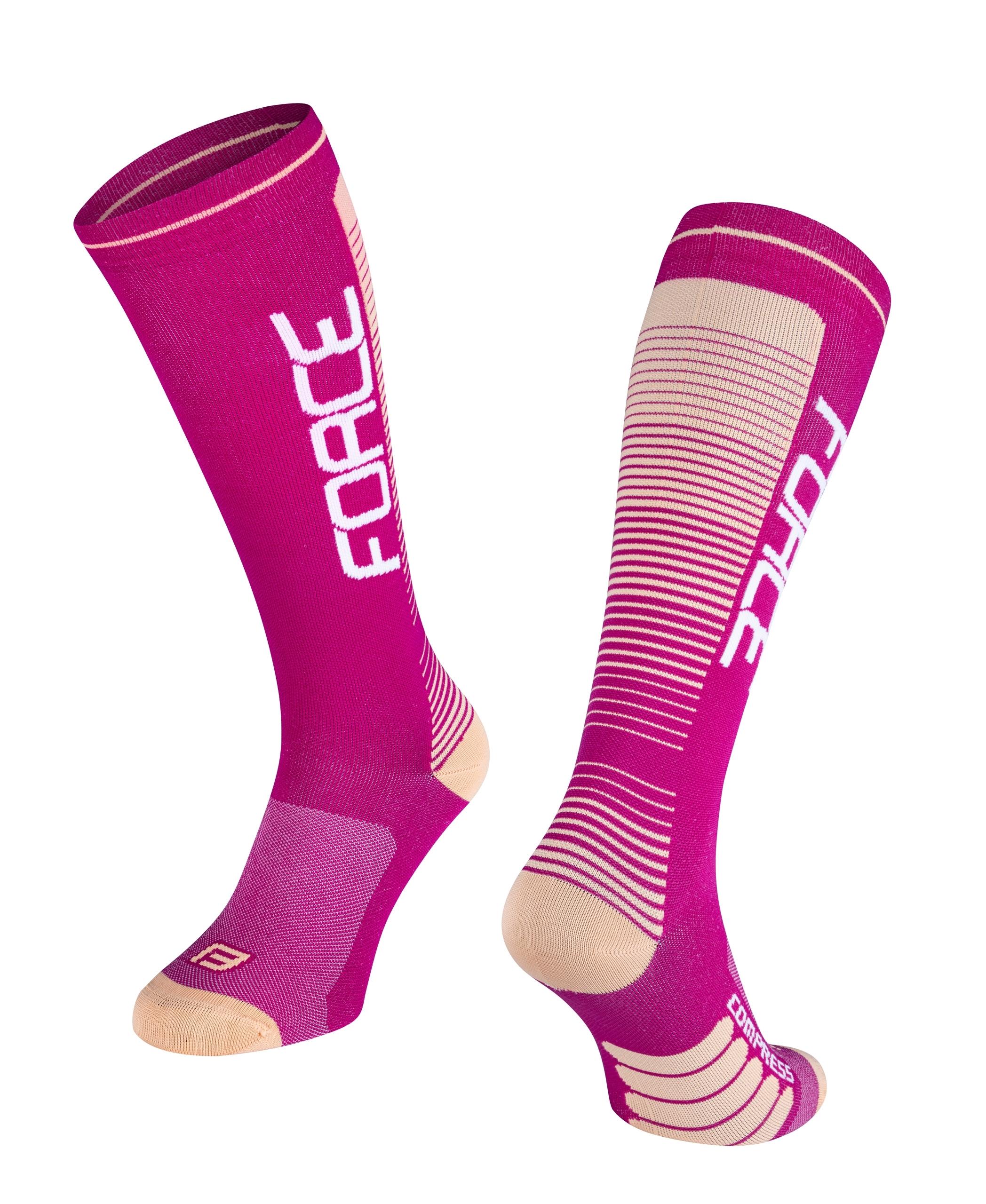 ponožky F COMPRESS, fialovo-meruňkové L-XL/42-47
