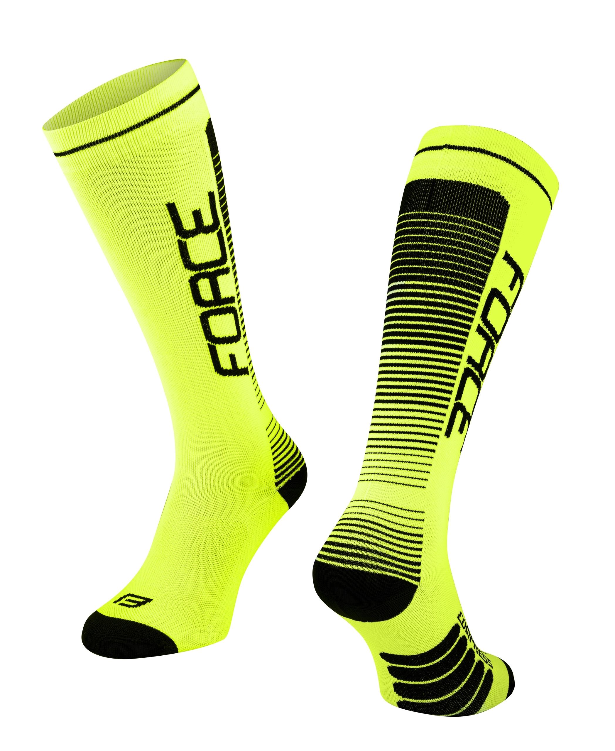 ponožky F COMPRESS, fluo-černé L-XL/42-47