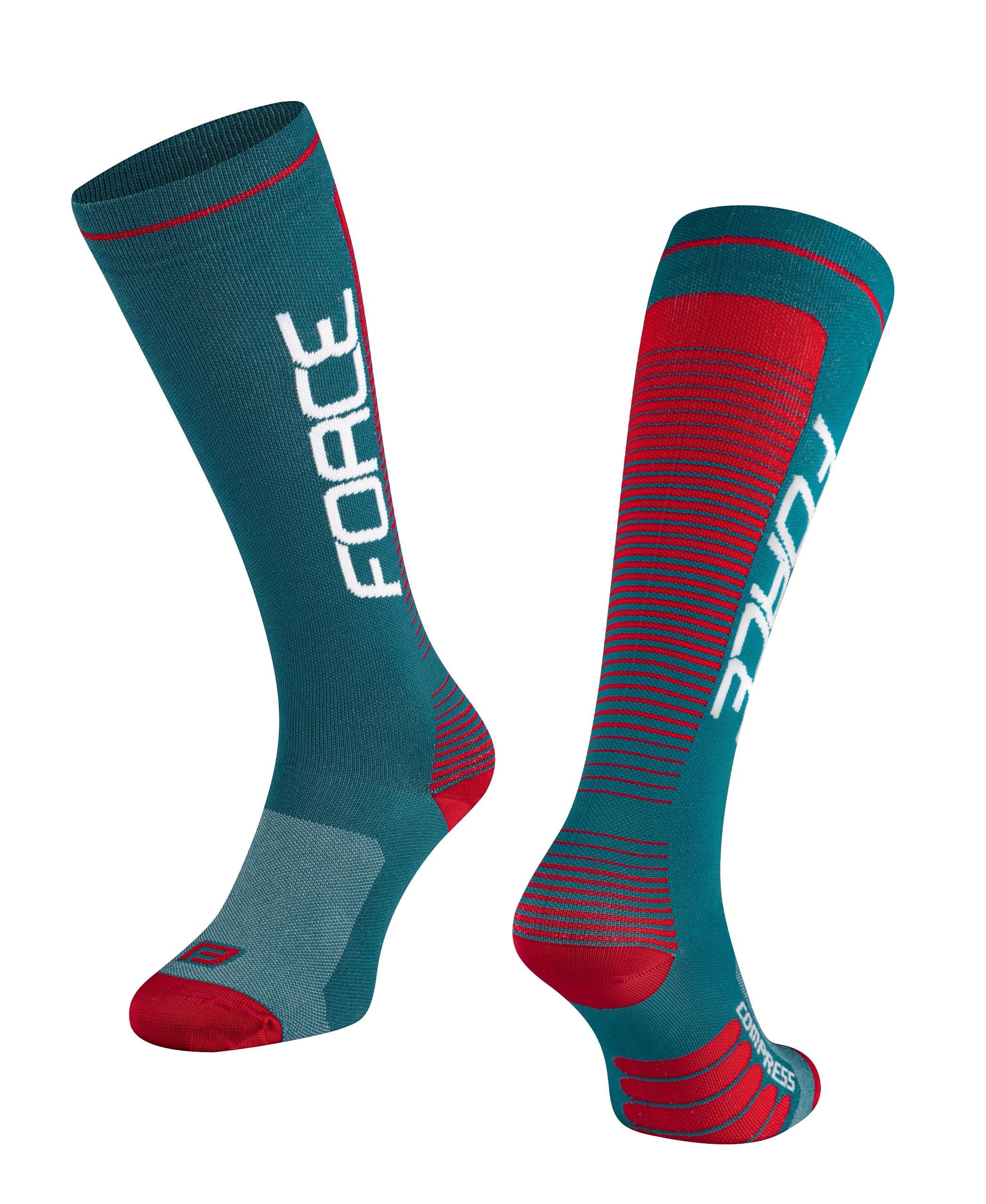 ponožky F COMPRESS, petrolejovo-červené L-XL/42-47