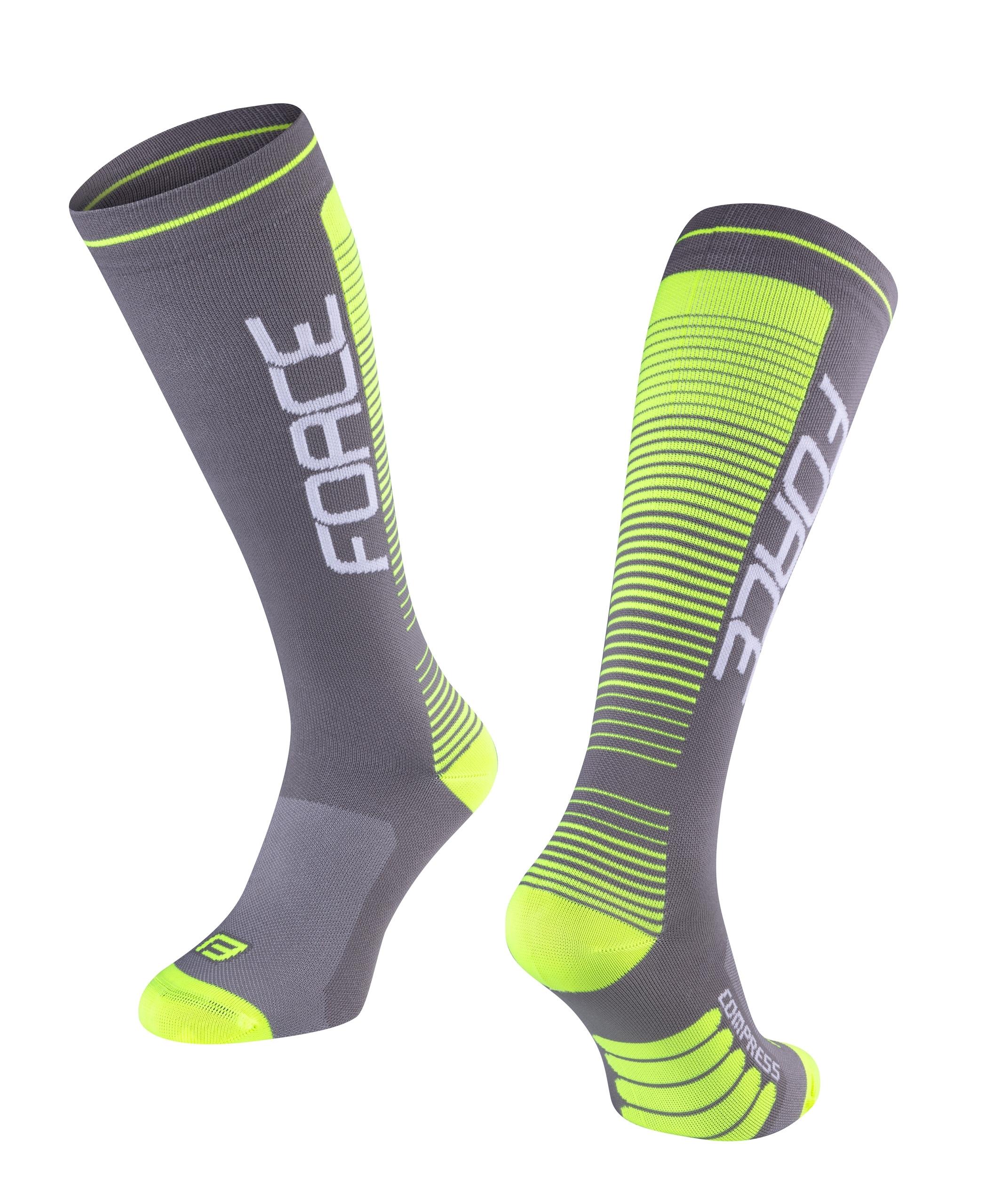 ponožky F COMPRESS, šedo-fluo S-M/36-41