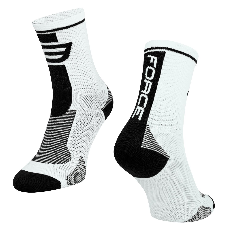 ponožky FORCE LONG, bílo-černé L-XL/42-47