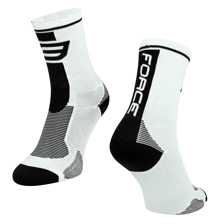 ponožky FORCE LONG, bílo-černé S-M/36-41
