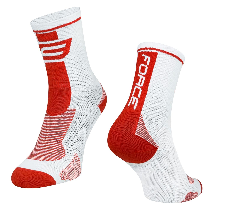 ponožky FORCE LONG, bílo-červené S-M/36-41