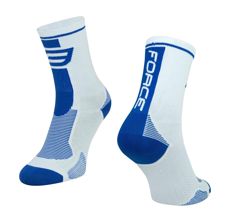 ponožky FORCE LONG, bílo-modré S-M/36-41