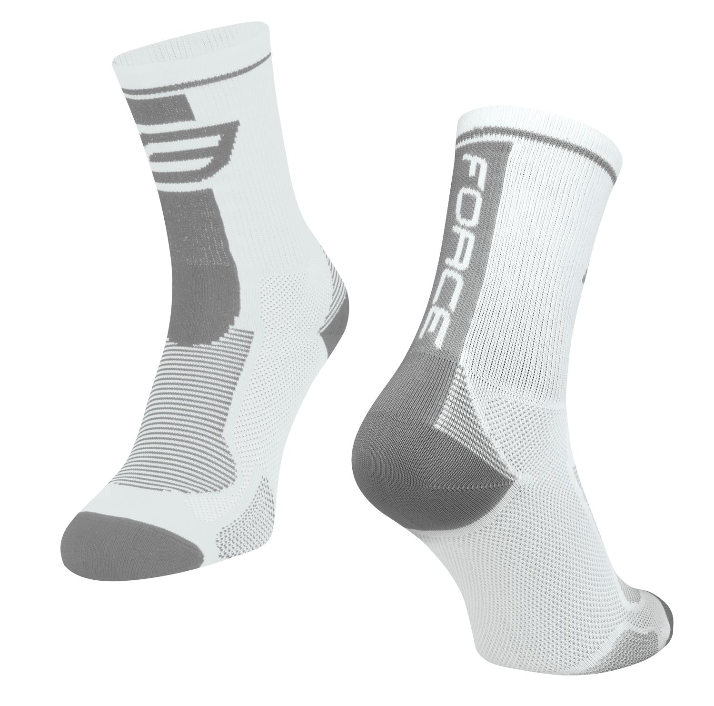 ponožky FORCE LONG, bílo-šedé S-M/36-41