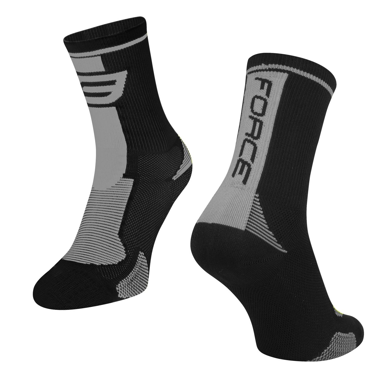 ponožky FORCE LONG, černo-šedé S-M/36-41