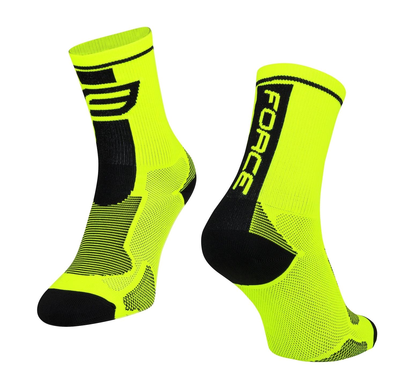 ponožky FORCE LONG, fluo-černé S-M/36-41