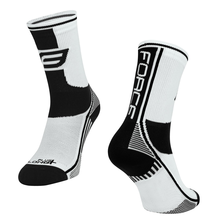 ponožky FORCE LONG PLUS, bílo-černé L-XL/42-47