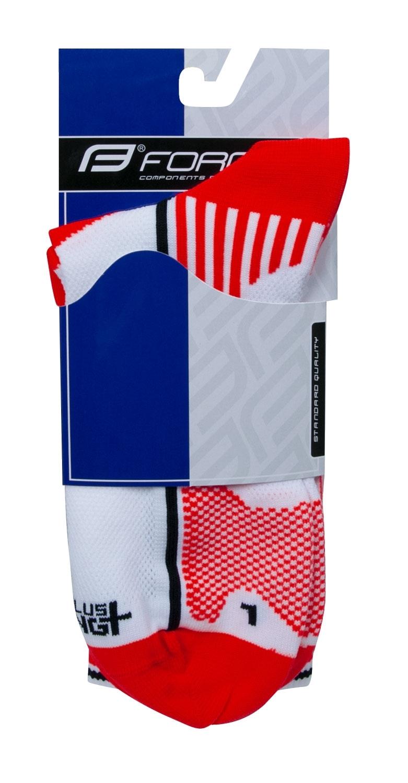 ponožky F LONG PLUS, červeno-černo-bílé L-XL/42-47