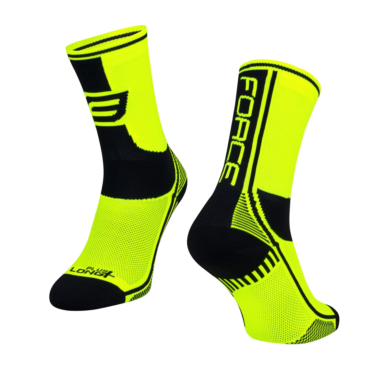 ponožky FORCE LONG PLUS, fluo-černé S-M/36-41