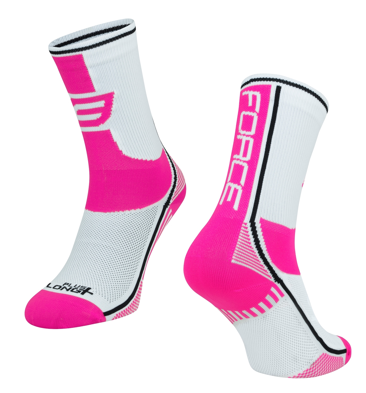 ponožky FORCE LONG PLUS, růžovo-černo-bílé S-M/36-41