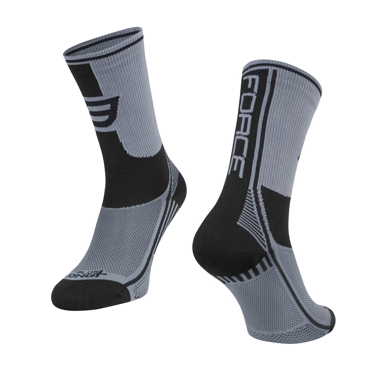 ponožky FORCE LONG PLUS, šedo-černé XXL/48-49
