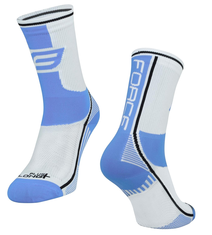 ponožky FORCE LONG PLUS, světlemodro-bílé L-XL/42-47