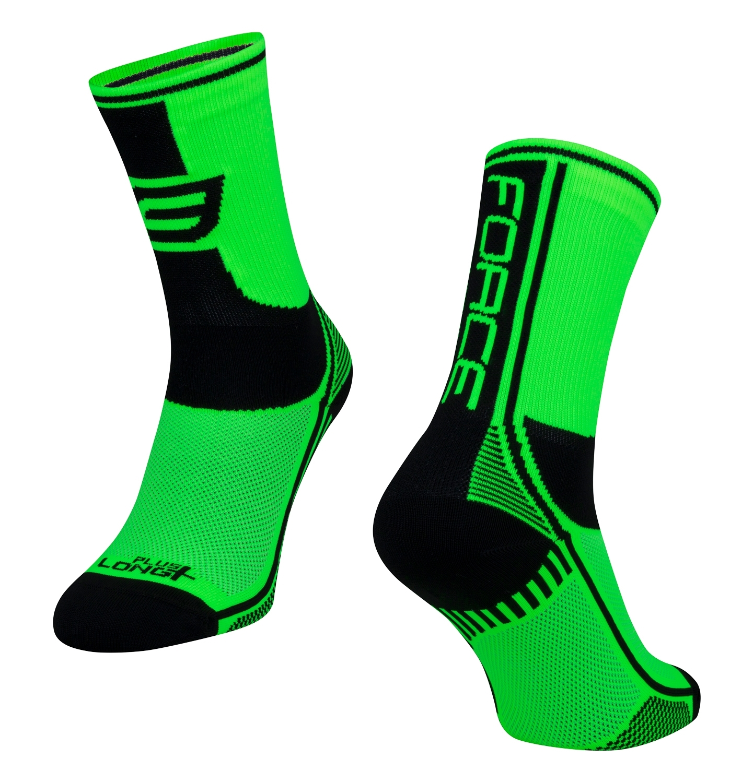 ponožky FORCE LONG PLUS, zeleno-černo-bílé S-M/36-41