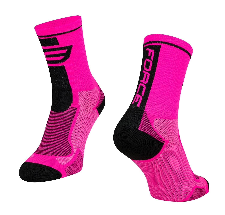 ponožky FORCE LONG, růžovo-černé L-XL/42-47