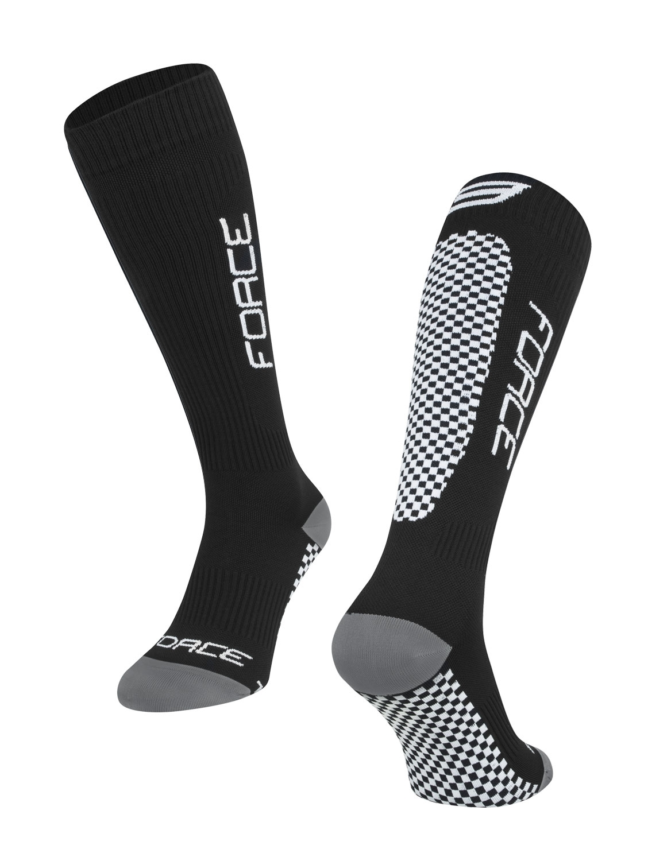 ponožky FORCE TESSERA KOMPRESNÍ, černé L-XL/42-47